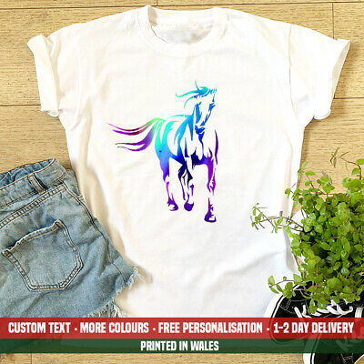 Ladies Horse Watercolour T Shirt - Womens Riding Pony Birthday Top Gift For Her • 11.99£
