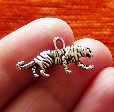 £3.45 • Buy 8x Tiger Charms For Bracelet Animal Necklace Pendant Silver Metal Double Sided