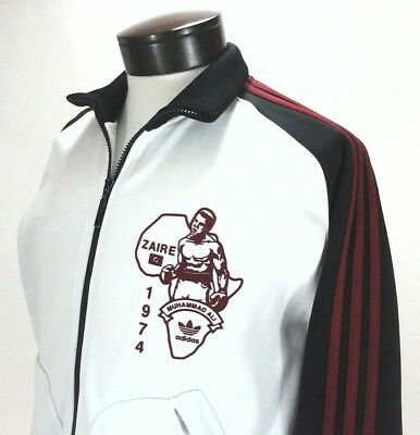 $153.72 • Buy ADIDAS Track Jacket Muhammad Ali Zaire White/Black Red Stripes Zip Men's S RARE