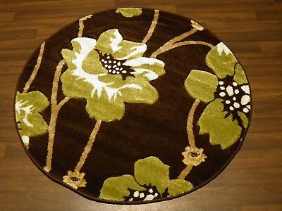 LUXURY GREAT QUALITY WOVEN RUGS POPPY CIRCLE DESIGN 120CMx120CM BROWN GREEN • 39.99£
