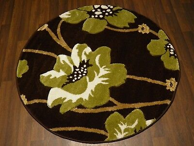 LUXURY GREAT QUALITY WOVEN RUGS POPPY CIRCLE DESIGN 120CMx120CM BROWN GREEN RUG • 39.99£