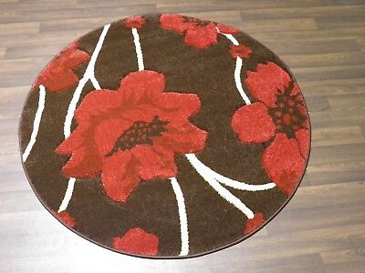 LUXURY GREAT QUALITY SOFT WOVEN RUGS POPPY CIRCLE DESIGN 120CMx120CM BROWN RED • 39.99£