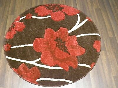 LUXURY GREAT QUALITY MODERN WOVEN RUGS POPPY CIRCLE DESIGN 120CMx120CM BROWN RED • 39.99£