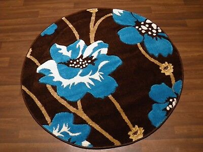 LUXURY GREAT QUALITY SOFT WOVEN RUGS POPPY CIRCLE DESIGN 120CMx120CM BROWN TEAL  • 39.99£