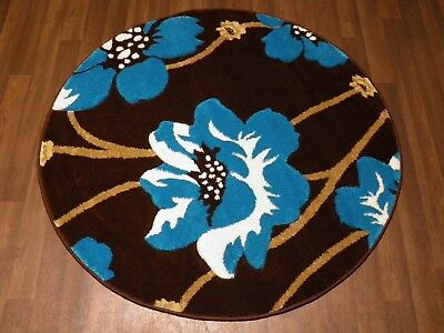 LUXURY GREAT QUALITY WOVEN RUGS POPPY CIRCLE DESIGN 120CMx120CM BROWN TEAL HOME  • 39.99£