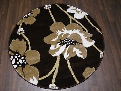 LUXURY GREAT QUALITY WOVEN RUGS POPPY CIRCLE DESIGN 120CMx120CM BROWN BEIGE • 39.99£