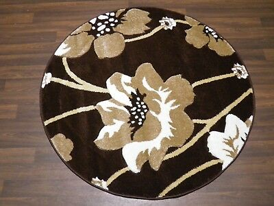 LUXURY GREAT QUALITY WOVEN RUGS POPPY CIRCLE DESIGN 120CMx120CM BROWN BEIGE HOME • 39.99£