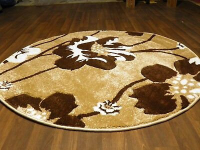 LUXURY GREAT QUALITY SOFT WOVEN RUGS POPPY CIRCLE DESIGN 120CMx120CM BEIGE BROWN • 39.99£