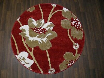 LUXURY GREAT QUALITY SOFT WOVEN RUGS POPPY CIRCLE DESIGN 120CMx120CM RED BEIGE • 39.99£