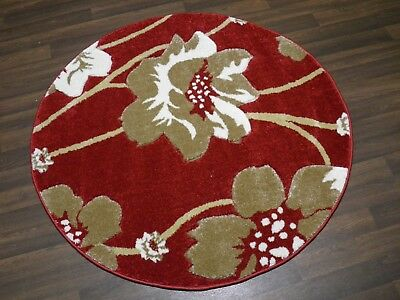 LUXURY GREAT QUALITY MODERN WOVEN RUGS POPPY CIRCLE DESIGN 120CMx120CM RED BEIGE • 39.99£