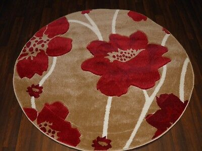 New Great Quality Modern Poppy Circle Design Soft Luxury Rugs Large Beige Red • 49.99£