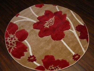 New Great Quality Luxury Poppy Circle Design Soft Luxury Rugs Large Beige Red • 49.99£