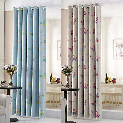 Butterfly Thermal Blackout Ready Made Eyelet Curtains - Dimout Energy Saving  • 29.99£
