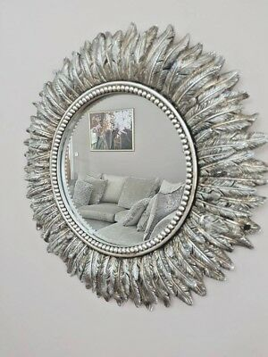 40cm Round Silver Feather Effect Wall Mirror Living Room Bedroom Hallway Vanity • 25.87£