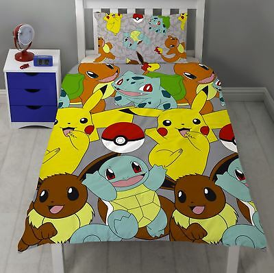 Pokemon Catch Single Duvet Cover Pikachu Squirtle Charmander Bedding • 15.99£