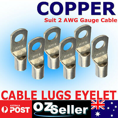 AU15.19 • Buy 2AWG Gauge Cable Lugs Ring Terminals Battery Wire Connectors Pure Copper Tinned