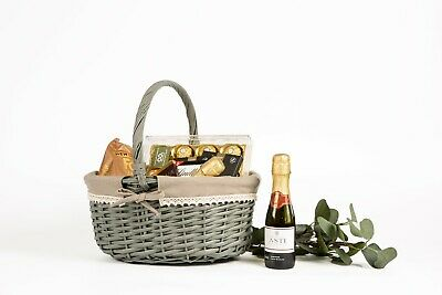 Grey Color High Handle Wicker Shopping Baskets Gift Hamper • 9.99£