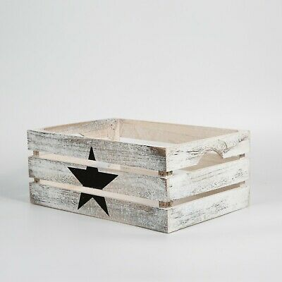 Star Paint Wooden Crates Display Gift Storage Box • 8.54£