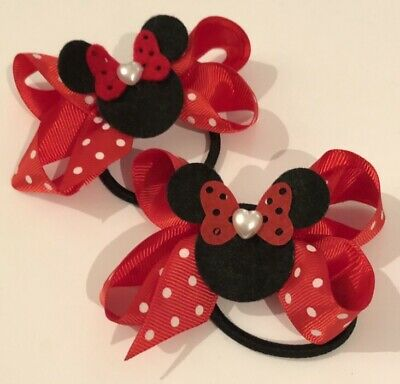 Beautiful Minnie Mouse Hair Bow Attached To A Bobble / Free Gift Bag 🐭🐭 • 2.10£