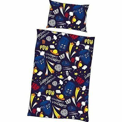 DOCTOR WHO Tardis Comets And Stars Single Duvet Bed Set • 8.95£