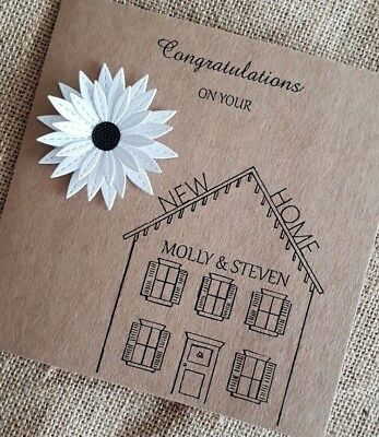 Personalised Handmade New Home Card Flower • 2.95£