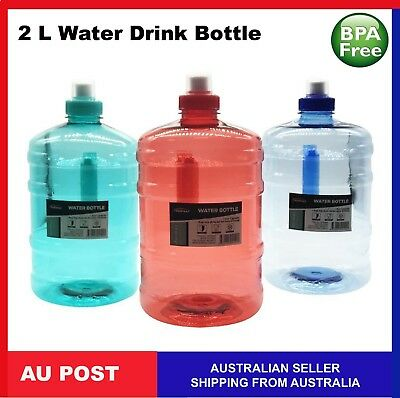 AU13.99 • Buy 2L 1L WATER BOTTLE DRINK WITH HANDLE BPA FREE 2 Litre 1 Litre