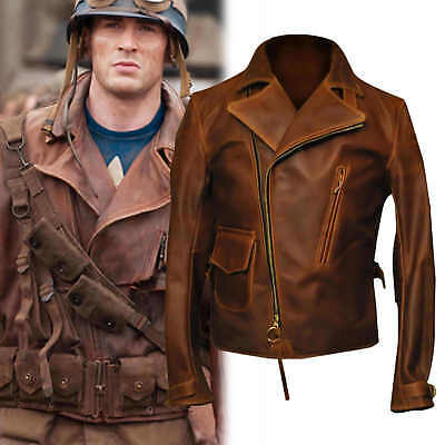 $109.99 • Buy Captain America The First Avengers Distressed Brown Biker Real Leather Jacket