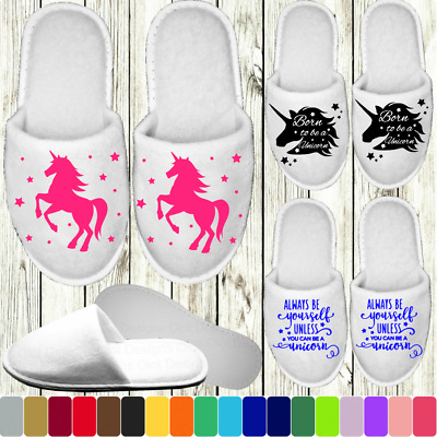 AU9.91 • Buy Unicorn White Closed Toe Slippers - Personalised Name Novelty Hen Party Spa Day
