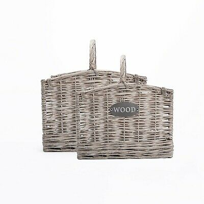 Grey Rectangle Wicker Willow Farm Shop Display Storage Log Basket • 20.99£