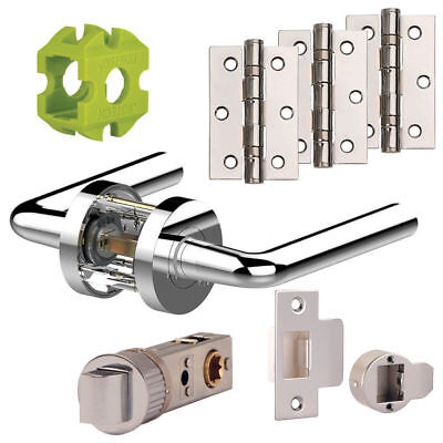 £20.34 • Buy Jigtech RIVA New Door Handles Pack Hinge - Latch Pack Polished - Satin Chrome