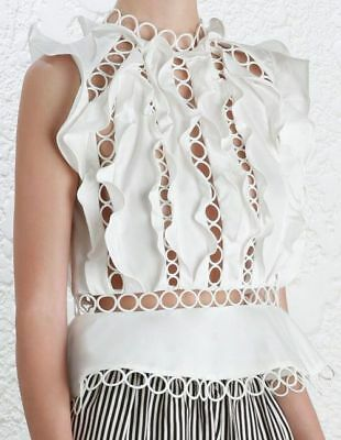 ZIMMERMANN Winsome Ruffle Lace Sphere Circle Blouse / Top - White 2 Also Fits 1 • 250$