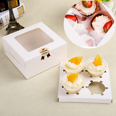 AU20.99 • Buy 25Pcs 4 Hole Paper White Cupcake Muffin Insert Packing Box Wedding Party Favor