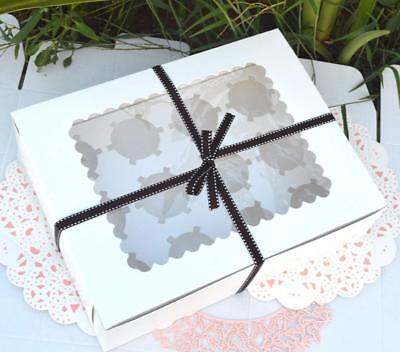 AU23.99 • Buy 25/50Pcs 2/4/12Holes Paper White Cupcake Muffin Packing Box Wedding Party Favor