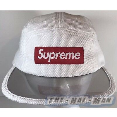 $ CDN118.36 • Buy New 2017 Supreme NYC Pique Angler WHITE RED Camp Cap Hat See Thru Bill Fishing