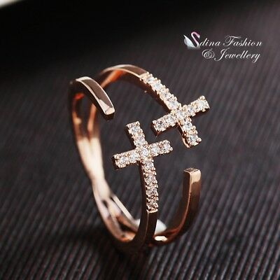 AU11.99 • Buy 18K Rose Gold Filled Simulated Diamond Double Cross Adjustable Knuckle Ring Set