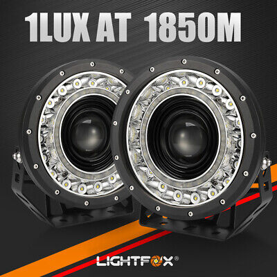 AU259.99 • Buy Pair 9 Inch CREE SPOT LED Driving Lights 4x4 Round Spotlights BLACK Built-in DRL