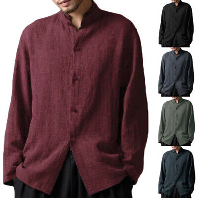 £10.08 • Buy INCERUN Mens Casual Shirt Linen Style V Neck Chinese Style Long Sleeve Tee Tops
