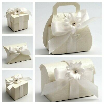 £1.99 • Buy Ardesia Pearlised Ivory Wedding Favour Boxes. Party Christening Sweet Favor Gift