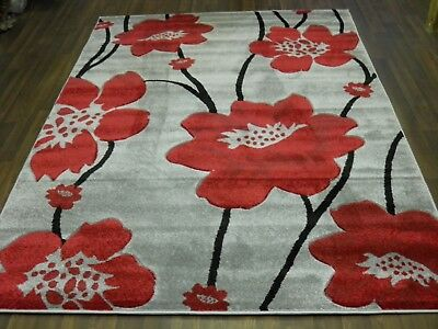 Top Quality New 120x170cm Aprox 6x4ft Rugs/mat Hand Carved Poppy Silver/red • 49.99£
