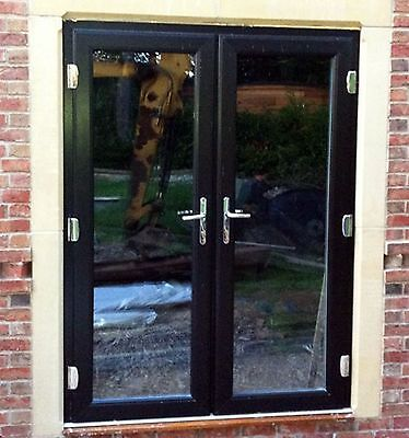 £590 • Buy BLACK On WHITE UPVC FRENCH Patio DOORS MADE TO MEASURE ****NEW****