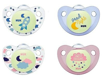 AU12.85 • Buy NUK Night & Day Silicone Soothers Size1 And Size2 (Blue & Pink)