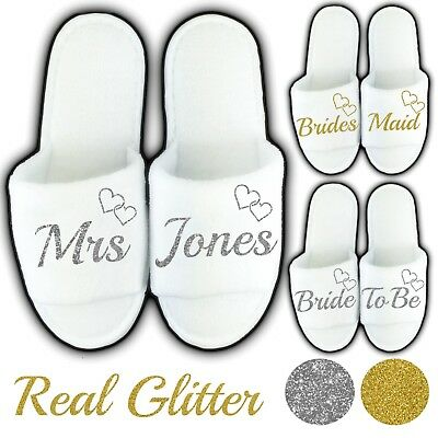 £1.35 • Buy White Wedding Open Toe Slippers Personalised Real Glitter Hearts Novelty Bridal