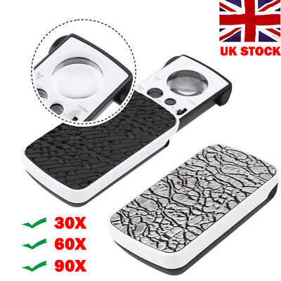 Pocket Magnifying 30/60/90X Jewellers Magnifier Glass LED Light Loupe Portable • 4.40£