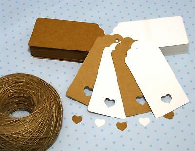 10/25/50/100 Scallop Rectangular Kraft Gift Tags Paper Card Label + Free Strings • 2.95£