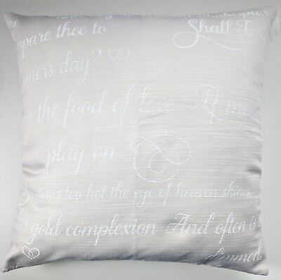 CLEARANCE Cushion Cover In Next Embroidered Poetry Script 16  Matches Curtains • 9.95£