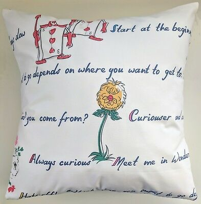 Cushion Cover In Cath Kidston Alice In Wonderland 16  Rabbit Queen Mad Hatter • 13.15£