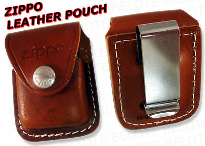Zippo Brown Leather Pouch W/ Clip LPCB ACCESSORIES NEW • 7.95$