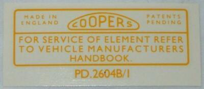 Classic Coopers Sticker Decal Rear Of Filter Sprite Midget PD.2604B/1 • 3.30£