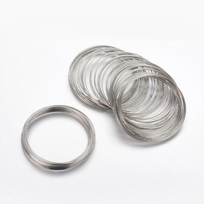 Steel Memory Wire Platinum Silver Colour 55 Mm X 0.6 Mm Bracelet / Bangle Size • 1.89£
