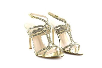£10.99 • Buy Ladies Diamante Mid Heel Party Prom Bridal Evening Sandals Shoes Gold PU
